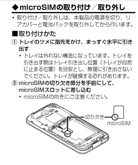 microSIMの取り付け、取り外し1