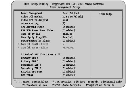 fmworld net power management setupメニュー